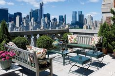 A sweeping view of Manhattan is seen from a terrace at the New York apartment of fashion designer Lorry Newhouse.