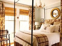 OLd Heather Chadduck bedroom. I still love this, especially the brown toile curtains. Let's here it for thrifting! Cozy Bedroom, Home Decor Bedroom, Bedroom Ideas, Pretty Bedroom, Bedroom Pics, Modern Bedroom, Bedroom Wall, Bedroom Furniture, Toile Curtains