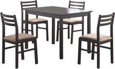 Monarch Specialties I 1111 Cappuccino Veneer 5Pcs Dining Set