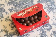 Maltesers are the original malted milk ball. The chocolate coating is a much creamier, less waxy chocolate than the US version and so much tastier! Maltesers Chocolate, Malted Milk, Chocolate Packaging, Chocolate Coating, Lactose Free, Aesthetic Food, Food Cravings, Just Desserts, Food Porn