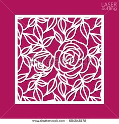 Die cut ornamental panel with pattern of roses and leaves. May be use for laser cutting. Lazer cut card. Silhouette pattern. Cutout paperwork. Cabinet fretwork metal or wood panel.