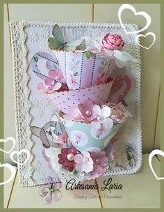 Jan Brown: JanB Handmade Cards Atelier: Feminine Flowery CoTwo bold prints overlaid with a big bow - changing up the p Pop Up Cards, Cute Cards, Diy Cards, Paper Cards, Folded Cards, Shabby Chic Cards, Mothers Day Crafts, Creative Cards, Greeting Cards Handmade