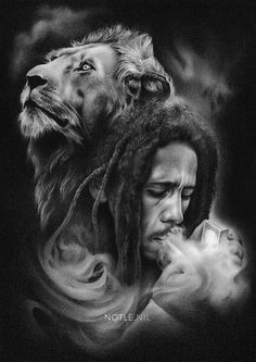 *Bob Marley* More fantastic drawings, pictures and videos of *Bob Marley* on: de… Bob Marley Tattoos, Bob Marley Lion, Bob Marley Art, Rasta Art, Rasta Lion, Rasta Tattoo, Lion Tattoo, Bob Marley Kunst, Reggae Art