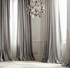 Silver bedroom curtains platinum silk curtain silk grey silver window dressing draping home decor interior decor window treatment living rooms and curtains Grey Curtains, Silk Drapes, Drapery, Striped Curtains, Bedroom Curtains, Window Curtains, Ceiling Curtains, Pleated Curtains, Long Curtains