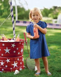 Stick-On Stars  Use our templates to make these adhesive stars and stick them on everything! Here, they immediately upgrade a basic enamel bucket into a picnic beverage station.