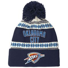 419f8063a2f1 Men s Oklahoma City Thunder adidas Navy NBA Team Nation Snowflake Cuffed  Knit Hat with Pom