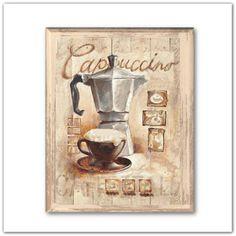 Pinkbagoly: Capuccino-s, kávés táblakép, falikép retro kotyogó...