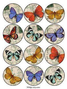 Schmetterlinge 25 Zoll Vintage druckbare Tags Hintergrund