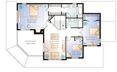 Second Floor Plan of Country   Farmhouse  Traditional   House Plan 65004