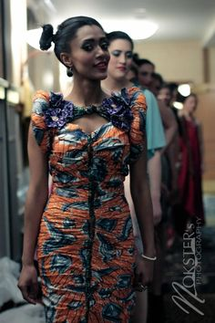 Ruched Orange African Print Dress with Puffed by AkeseStyleLines.