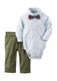 Carters Blue 2-Piece Button-Front Bodysuit And Pant Set