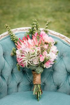 rustic succulent and pink protea wedding bouquet - Deer Pearl Flowers