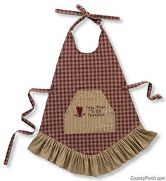 """Sturbridge Prairie Apron, by Park Designs. This is for the WINE apron in the Sturbridge design, a primitive wine red and tan plaid. Front pocket features embroidery of hearts and """"Take time to be thankful. Sewing Tutorials, Sewing Projects, Sewing Patterns, Bib Apron, Aprons Vintage, English Style, Tea Towels, Arts And Crafts, Primitive"""