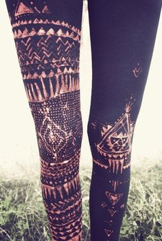 bleach pen on leggings.  gives a batik look