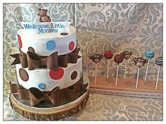 Monkey baby shower cake and cake pops to match!