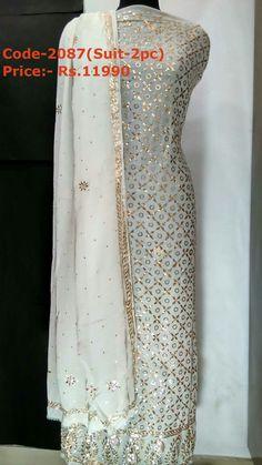 Lucknow /Lucknavi mukaish/badla/kamdani work suits For details contact us on whatsapp at Stylish Dresses For Girls, Simple Dresses, Indian Attire, Indian Wear, Pakistani Outfits, Indian Outfits, Indian Bridal Photos, Kurti Styles, Beautiful Suit