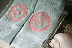 Embossed Embroidered Anchor Bath Hand Towel by ByTheSeashoreDecor. Nautical Bath, Nautical Gifts, Monogrammed Beach Towels, Refuse To Sink, Coastal Cottage, Anchors, Beach Themes, Home Textile, Emboss