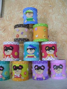 Te amo Tin Can Crafts, Diy And Crafts, Diy For Kids, Crafts For Kids, Flower Pens, Pot A Crayon, Aluminum Cans, Doll Party, Felt Applique