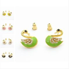 19x13mm Lovely Alloy Acrylic Swan Shaped with Crystal Women Stud Earring Five Colors