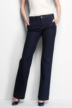 As seen on vogue.com (September 2015) - Women's Mid Rise Trouser Jeans from Lands' End