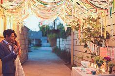 ruban plafond déco de mariage coloré