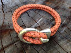 Leather Wrap Bracelet, Orange Leather Bracelet, Boho Leather Accessory, Unisex Bracelet, Yoga Bracelet, Fall Fashion,Orange Silver Bracelet