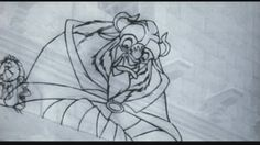 Beast clean-up pencil test from Beauty and the Beast (1991)