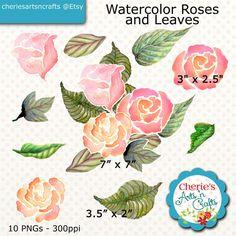 Watercolor Roses & Leaves Clip Art | Roses Graphics | Craft Supplies | Digital Art | Instant Download Watercolor Art | Roses Cliparts | Art
