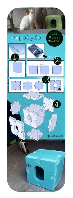 DIY Cat Shelter from foam: visual tutorial, (source not available anymore). Good way to recycle packing material & help cats! Feral Cat Shelter, Feral Cat House, Outdoor Cat Shelter, Outdoor Cats, Feral Cats, Animal Shelter, Cat Shelters, Kitsch, Cat Enclosure