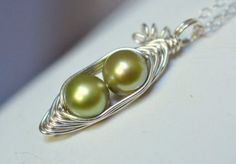 wire wrapped freshwater pearl pea pod necklace by Mu-Yin Jewelry (aka muyinmolly on Etsy)