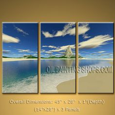 Elegant Contemporary Wall Art Seascape Painting Beach Ready To Hang. In Stock $134 from OilPaintingShops.com @Bo Yi Gallery/ ops3210