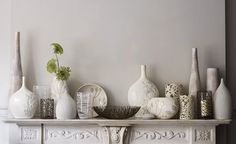 white vases collection