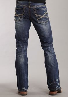 Mens Stetson Blue 100% Cotton Destruction Dark Wash Bootcut Rocks Jeans