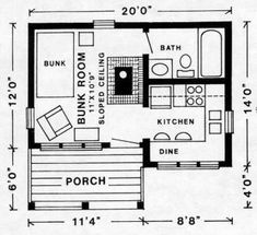 YUKON 256 sf floor plan - Cherokee Cabin Company - Town and Country Plans