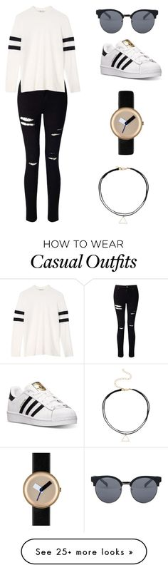 """casual"" by gfsim on Polyvore featuring Miss Selfridge, T By Alexander Wang, Quay, adidas and Nomad"