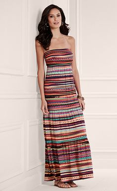 d4d7651750a7 Soma Tiered Bandeau Maxi Dress in Fiesta Stripe Multi - Soma Sweepstakes  Stylish Clothes, Stylish