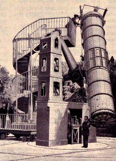le télescope de 120cm dans sa première version lors de son installation dans les jardins de l'Observatoire de Paris en 1875.