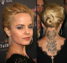 Hollywood Stars With Tattoos: Mena Suvari Lion Tattoo On Back Neck ~ tattoosartdesigns.com Celebrity Tattoos Inspiration
