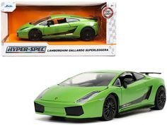 Lamborghini Gallardo Superleggera Green Metallic Diecast Car #Unbranded #Lamborghini Chevrolet Corvette Stingray, Packing Boxes, Rubber Tires, Diecast Model Cars, Lamborghini Gallardo, Jada, Black Stripes, Best Gifts, Awesome Gifts