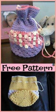 If you are planning a birthday present, and want some king of pretty and decorative Goody Bag, then this Round Base Crocheted Goody Bag is for you. Free Crochet Bag, Crochet Shell Stitch, Crochet Market Bag, Crochet Tote, Crochet Handbags, Crochet Purses, Crochet Gifts, Crochet For Kids, Diy Crochet