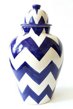 Blue & White Chevron Ginger Jar