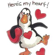 "Here""s my heart suzi zooador, penguin clipart"