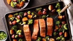 Asian Salmon with Potatoes and Broccoli Sheet-Pan Dinner This Asian-inspired sheet-pan supper gets a tasty, flavorful meal on the table in less than an hour. And cleanup is easy with just one pan to clean! Easy Salmon Recipes, Fish Recipes, Seafood Recipes, Asian Recipes, Cooking Recipes, Dinner Recipes, Recipies, Cooking Games, Meal Recipes