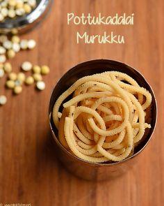 pottukadalai-murukku-recipe Indian Snacks, Indian Food Recipes, Vegetarian Recipes, Snack Recipes, Cooking Recipes, Indian Sweets, Indian Breads, Diwali Snacks, Diwali Food