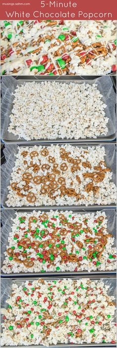 This White Chocolate Popcorn recipe is the perfect sweet-and-salty snack both kids and adults will love. Bonus: it takes just 5 minutes to make! (christmas desserts for kids to make parties) Holiday Snacks, Christmas Snacks, Snacks Für Party, Christmas Cooking, Cheap Christmas, Holiday Recipes, Party Games, Party Appetizers, Christmas Popcorn