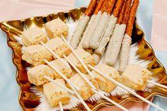 Rice Krispies and pretzel stick dessert wedding bar