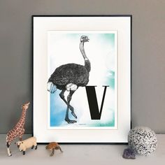 Buchstabe V wie Vogelstrauß - ein & alles Wandkunst für Kinder Gallery Wall, Frame, Design, Home Decor, Paper, Letter F, Name Day, Great Gifts, Animals