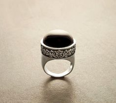 Onyx Silver Ring with Victorian pattern  Sterling by KRAMIKE