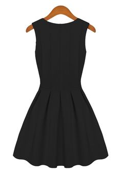 Black Plain Round Neck Sleeveless Cotton Blend Dress - Dresses