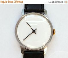 "SALE - Mens watch, Soviet watch, Russian watch ,minimalist watch, watch men , Mechanical watch , white watch ""Raketa"""